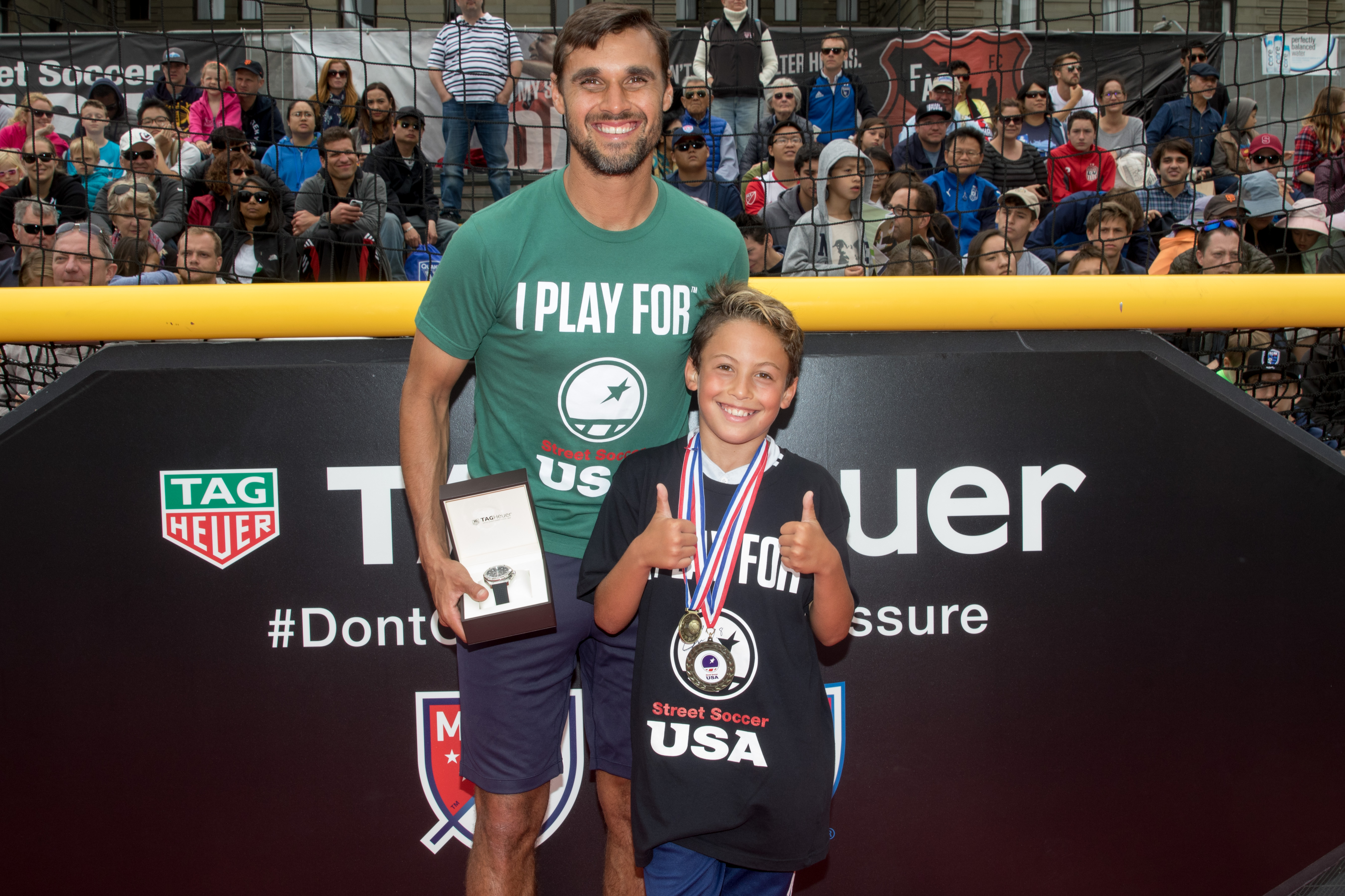 Street Soccer USA Cup - Chris Wondolowski presented TagHeuer watch